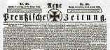 Titelseite der »Kreuzzeitung« vom 26. Februar 1863